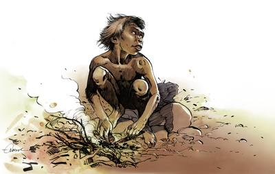 Enfant erectus - Illustration M. -O. Nadel